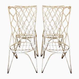 Spanische Weiße Gartenstühle, 1950er, 4er Set
