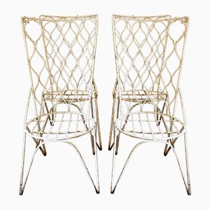 Spanish White Garden Chairs, 1950s, Set of 4