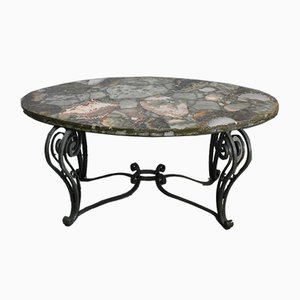 Coffee Table in Marble and Wrought Iron, 1950s