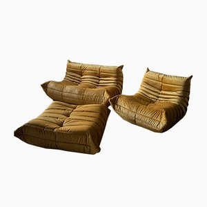 Vintage Goldenrod Togo Living Room Set by Michel Ducaroy for Ligne Roset, 1970s, Set of 3
