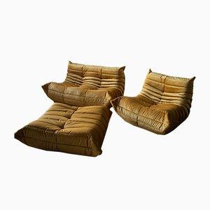 Vintage Goldrute Togo Wohnzimmer Set von Michel Ducaroy für Ligne Roset, 1970er, 3er Set