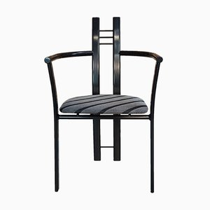 Italian Black Metal Dining Chairs, 1980s, Set of 4