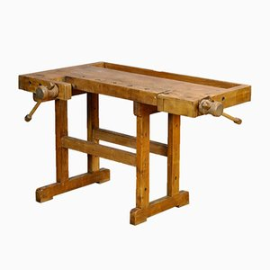 Vintage Oak Carpenter's Worktable, 1940s