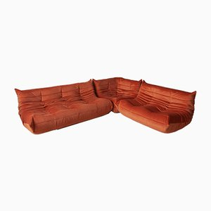 Orange Velvet Togo Living Room Set by Michel Ducaroy for Ligne Roset, 1970s, Set of 3