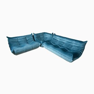 Sea Blue Velvet Togo Living Room Set by Michel Ducaroy for Ligne Roset, 1970s, Set of 3