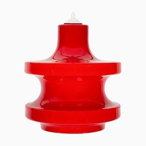Lampada a sospensione in vetro rosso di Peil & Putzler, anni '70