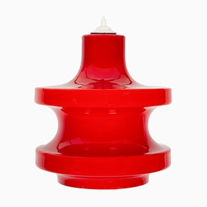 Red Glass Pendant Lamp from Peil & Putzler, 1970s