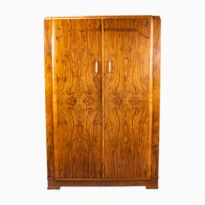 Large English Art Deco Walnut Wardrobe, 1930s