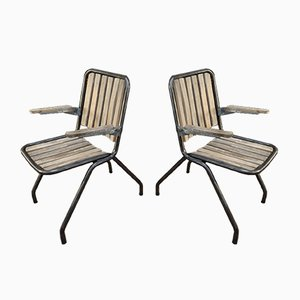 Industrial Metal and Beech Folding Chairs, 1950s, Set of 2