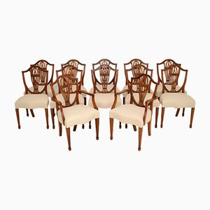 Shield Back Dining Chairs, 1930s, Set of 12