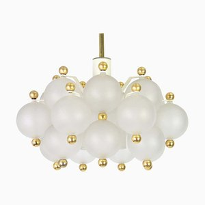 Frosted Glass and Brass Chandelier from Kinkeldey, Germany, 1970s