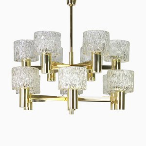 Large Brass Murano Glass Chandelier by Ernst Palme, 1970s