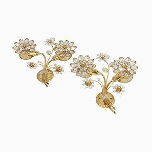 Applique grandi a forma di fiore in ottone dorato di Palwa, Germania, anni '70, set di 2