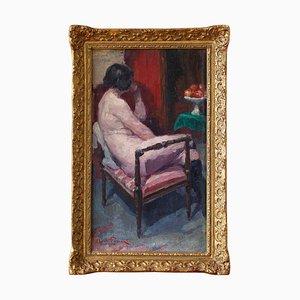 Oswald Poreau, Sitzender Akt in Lederstiefeln, 1920er, Französische Ölmalerei
