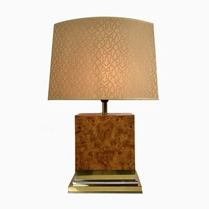 Large Italian Table Lamp in Burl and Brass, 1970s