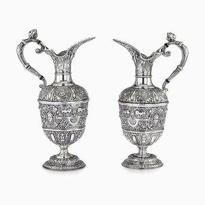 Brocche Ewer antiche in argento massiccio di James Dixon & Sons, set di 2