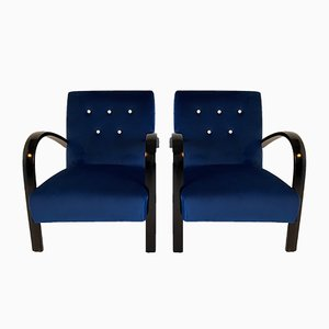Italian Art Deco Blue Armchairs, 1930s, Set of 2