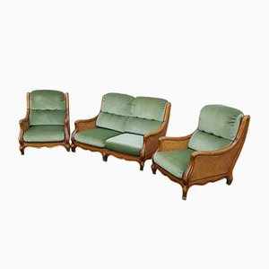 Mid-Century Rattan and Wood Living Room Set, Set of 3