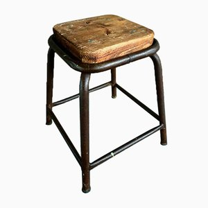 Iron and Wood Stool, 1970s