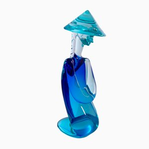 Sculpture of Chinese Man in Blue Murano Glass by Archimede Seguso, 1960s
