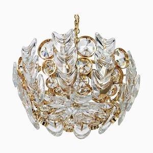 Kleiner vergoldeter Kronleuchter aus Messing & Kristallglas von Palwa, 1970er