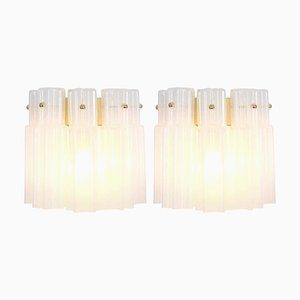 Frosted Glass Wall Lights from Limburg, 1960s, Germany, Set of 2