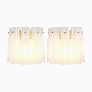 Milchglas Wandlampen von Limburg, 1960er, 2er Set