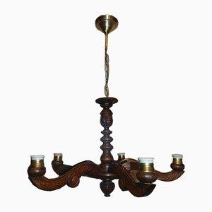 Vintage Art Deco Holz Kronleuchter