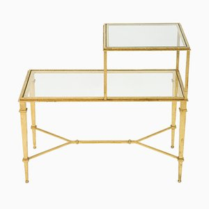 Gilded Wrought Iron End Table by Roger Thibier, 1960s