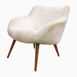 Weißer Vintage Armlehnstuhl