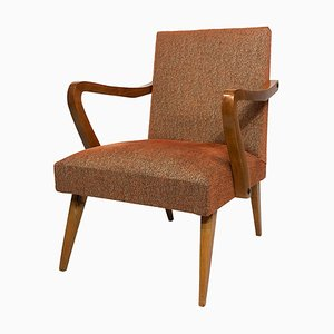 Mid-Century Italian Armchair In Orange Boucle Fabric, 1950s
