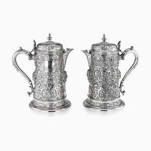 Solid Silver Flagons by Martin, Hall & Co - Richard Martin & Ebenezer Hall for Martin, Hall & Co - Richard Martin & Ebenezer Hall, Set of 2
