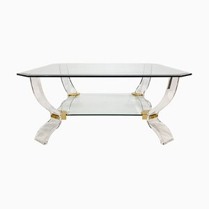 Lucite and Glass Coffee Table by Curvasa Muebles, 1980s
