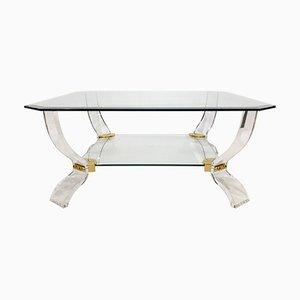 Tavolino da caffè in lucite e vetro di Curvasa Muebles, anni '80