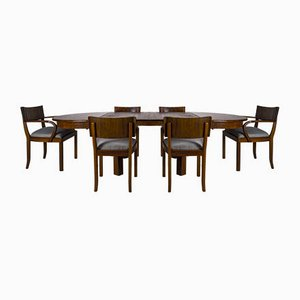 Large Model 569 Dining Table & Chairs Set by Hans Hartl for Deutsche Werkstätten Hellerau, Deutschland, 1940s, Set of 7