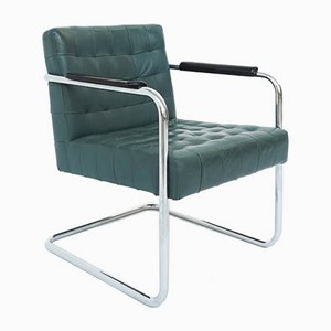 Bauhaus Emerald Green Leather Armchair by Robert Haussmann for de Sede, 1960s