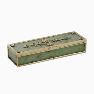 Antike Russische Vergoldete Samtskiste aus Vergoldetem Sterlingsilber von Karl Fabergé