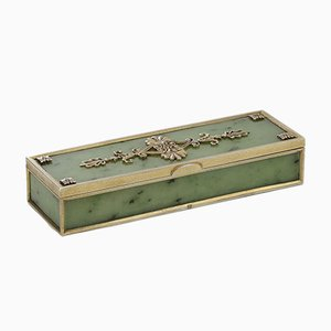 Antique Russian Solid Silver Gilt and Jade Box by Karl Fabergé
