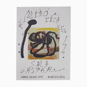 Vintage Pablo Picasso & Miro Poster Exhibition Sala Gaspar, Barcelona, 1978