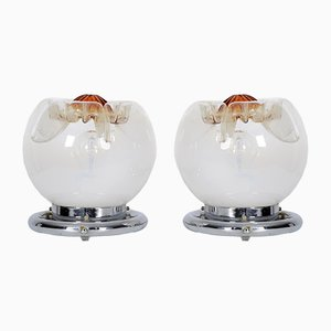 Murano Glass Table Lamps from Mazzega, 1970s, Set of 2