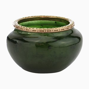 Antique Solid Silver Gilt and Nephrite Bowl by Michael Perkhin