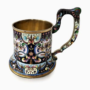 Antique Silver Gilt and Enamel Tea Glass Holder from 6th Moscow Artel