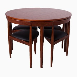 Tavolo da pranzo e 4 sedie Mid-Century in teak di Hans Olsen per Frem Røjle, anni '50