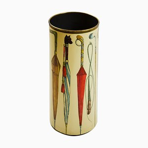 Silkscreen & Brass Umbrella Stand by Piero Fornasetti for Atelier Fornasetti, 1950s