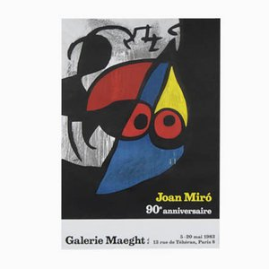 Vintage Joan Miro Exhibition Post Galerie Maeght 13 Rue Tehran, Paris 8, 1983