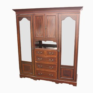 Large Antique Mahogany Mirrored Compactum Wardrobe