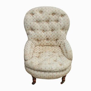 Mahogany Nursing Chair Upholstered in Cream, 1930s