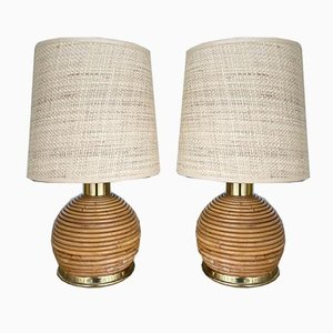 Italian Rattan & Brass Table Lamps, 1970s, Set of 2