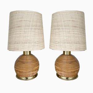 Italienische Rattan & Messing Tischlampen, 1970er, 2er Set