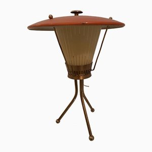 Italian Brass and Glass Tripod Table Lamp from Stilnovo, 1950s
